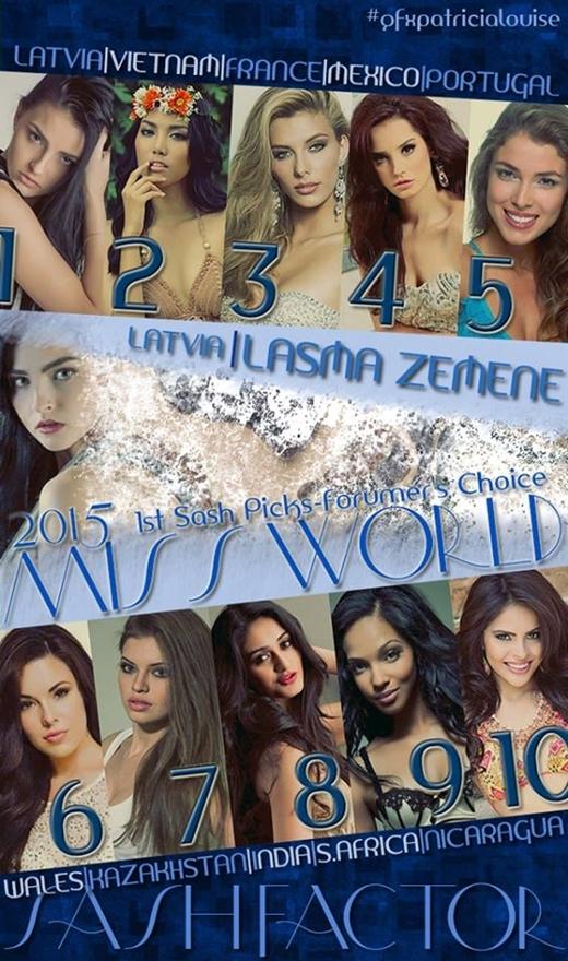 Cô hiện đứng thứ hai trong bảng xếp hạng 10 ứng viên tiềm năng của Miss World 2015. - Tin sao Viet - Tin tuc sao Viet - Scandal sao Viet - Tin tuc cua Sao - Tin cua Sao