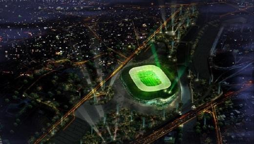 Dàn đèn công suất lớn giúp sân Timsah Arena rực sáng vào ban đêm.