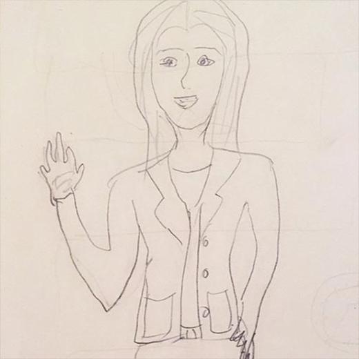 Sooyoung thích thú khoe hình vẽ kỳ lạ, cô nàng chia sẻ: Sooyoung ở sân bay. Hình này được vẽ bởi mẹ của tôi