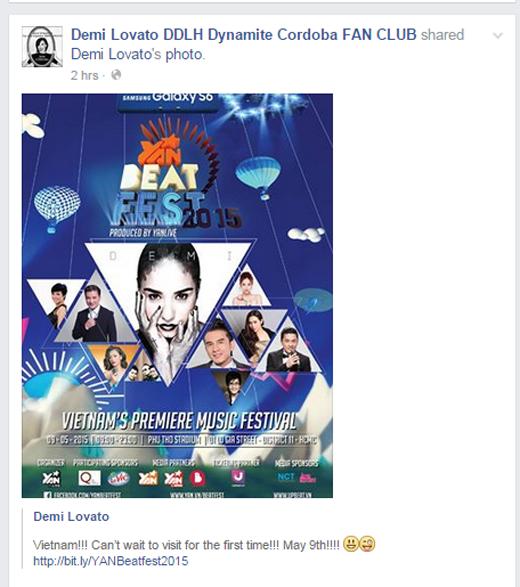 Hàng loạt fan Việt đã háo hức chia sẻ lại dòng trạng thái của Demi Lovato khiến cộng đồng mạng ngày cuối tuần dậy sóng.