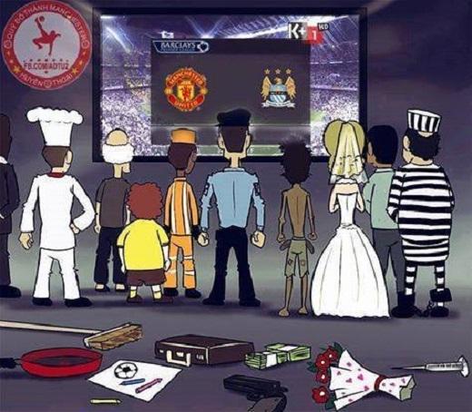 CĐV dừng mọi công việc để theo dõi derby thành Manchester