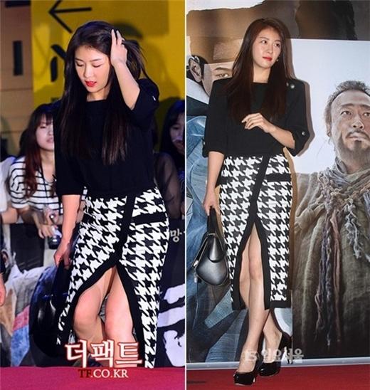 Ha Ji Won cẩn thận trong từng bước đi khi lên bậc tam cấp trong buổi công chiếu bộ phim Kundo: Age of the Rampant. Cô diện chân váy midi họa tiết houndstooth có phần xẻ tà khá táo bạo ở mặt trước.