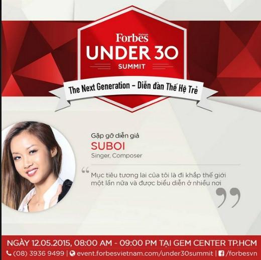 Suboi sẽ là một diễn giả trong buổi thảo luận ở sự kiện Under 30 Summit ngày 12.05.2015