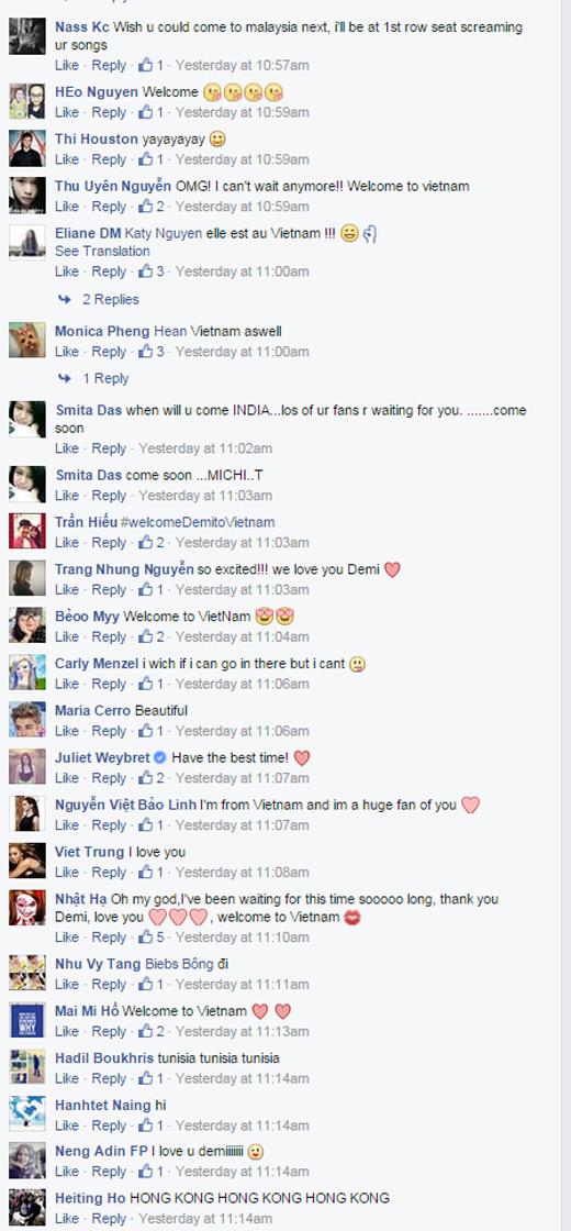 """Các fan quốc tế tỏ ra khá """"ghen tị"""" khi Demi Lovato thông báo chính thức về chuyến viếng thăm Việt Nam sắp tới"""