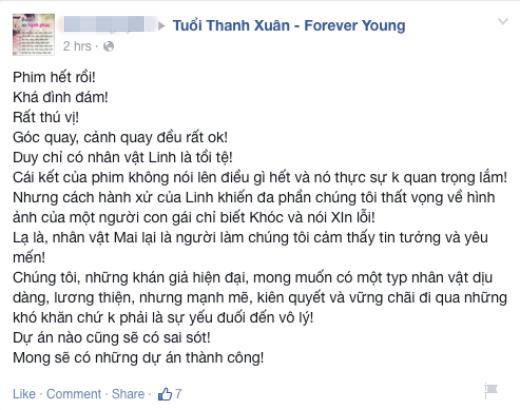 Thất vọng về cái kết của 'Tuổi thanh xuân', khán giả đòi tẩy chay phim Việt