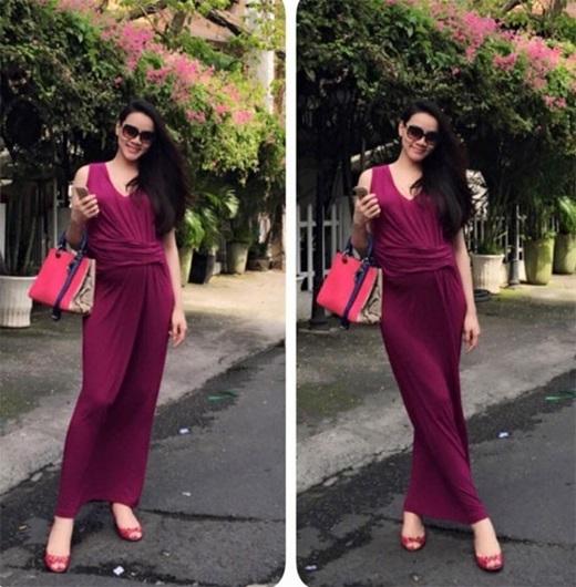 Ở giai đoạn đầu của thai kỳ, Trang Nhung chọn váy dài chấm gót chân,giày bệt tiện dụng khi xuống phố.