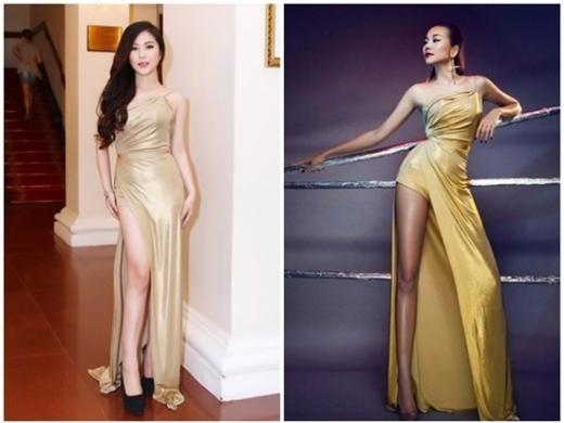 Dù không sở hữu vóc dáng chuẩn như Thanh Hằng, ca sĩ Hương Tràm vẫn ứng dụng kiểu trang phục dạ hội ánh nhũ, từng được chân dài làng mốt diện khi thể hiện bộ ảnh thời trang.