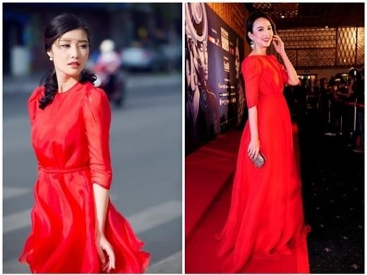 Trang phục dạo phố của Triệu Thị Hà có nhiều điểm tương đồng với bộ váy dạ hội của Ngọc Diễm. Nước da trắng và thân hình mảnh mai là ưu điểm giúp hai người đẹp nổi bật trong bộ cánh của Lê Thanh Hòa.