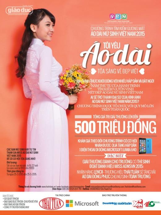 Hàng nghìn nữ sinh có cơ hội nhận quà từ Miss Áo dài nữ sinh Việt Nam 2015
