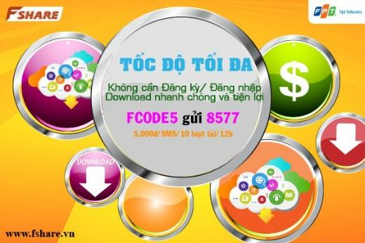 Soạn tin FCODE5 gửi 8577 khi cần download nhanh