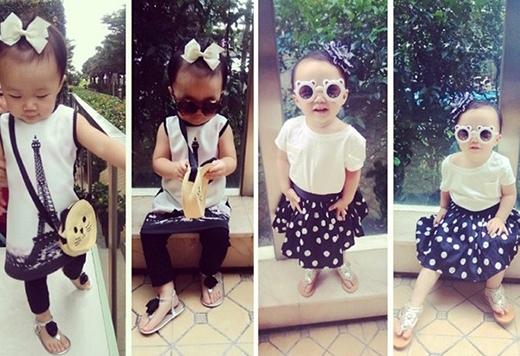 Cô nhóc hơn 3 tuổi ngoan ngoãn chụp ảnh, giới thiệu phong cách street style ngày hè sành điệu.