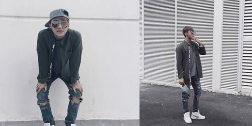 Sơn Tùng M-TPcực chất khi diện chiếc quần jeans rách phối hợp cùng nón lưỡi trai đội ngược. Phong cách thời trang của nam ca sĩ luôn là thế mạnh thu hút nhiều fans.