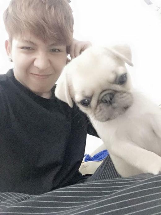 Kelvin Khánh vừa khoe một người bạn mới trong ngôi nhà của mình. Anh còn hài hước tạo khuôn mặt giống y hệt chú cún để xem ai dễ thương hơn ai.