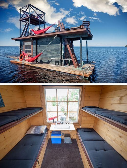 Một chiếc bè được tận dụng làm nhà ở Phần Lan