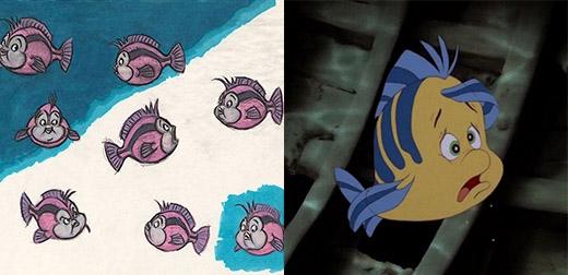 Chú cá Flounder, bạn thân của Nàng tiên cá trông không đáng yêu lắm trong những nét vẽ đầu tiên