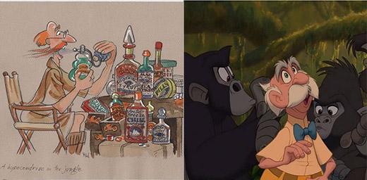 Dr. Porter - Bố của Jane trong bộ phim hoạt hình Tarzan vẫn... hói từ trong bản thảo ra đến bản hoàn chỉnh