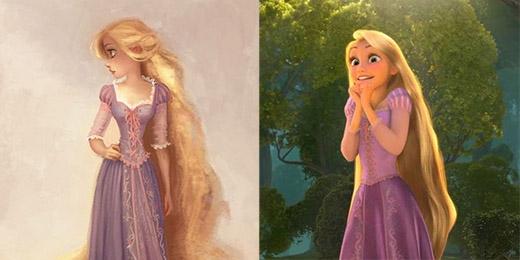 Rapunzel trong bộ phim Tangled (Công chúa tóc dài) dường như không khác lắm với bản phác thảo đầu tiên