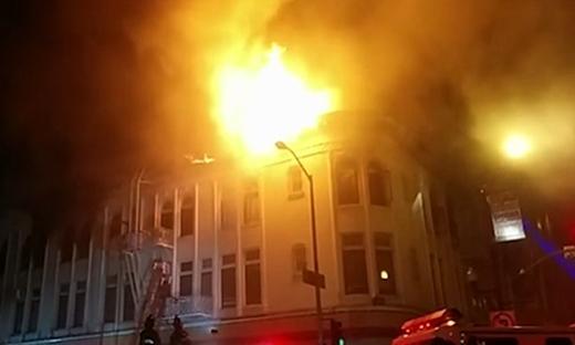 Hình ảnh vụ hỏa hoạn tại khu phố củaCrockett.