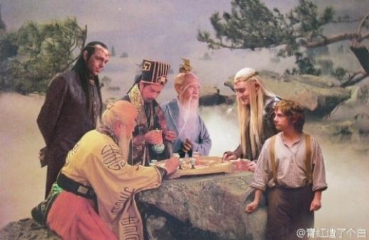 Khi Frodo Baggins và Celebom tranh luận về cờ với các đại lão tiên.