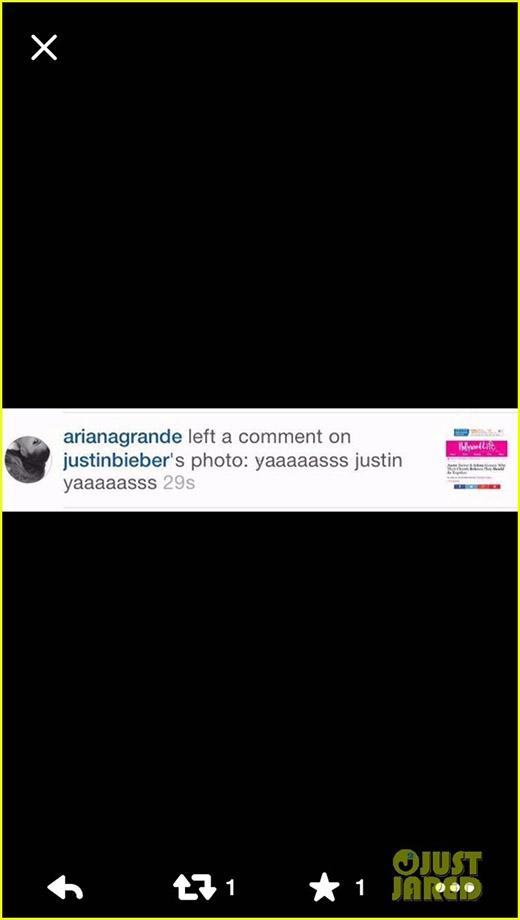 Dòng bình luận của Ariana trên trang của Justin