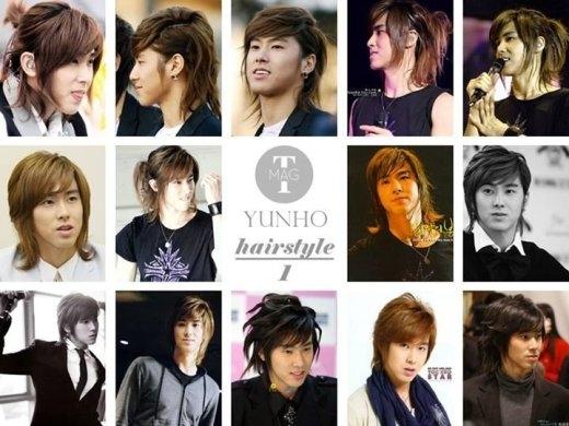 Trong khi đó, Yunho (DBSK) có cả bộ sưu tập kiểu tóc cột cao phát huy vẻ ngoài nam tính ngời ngời của nam thần tượng.