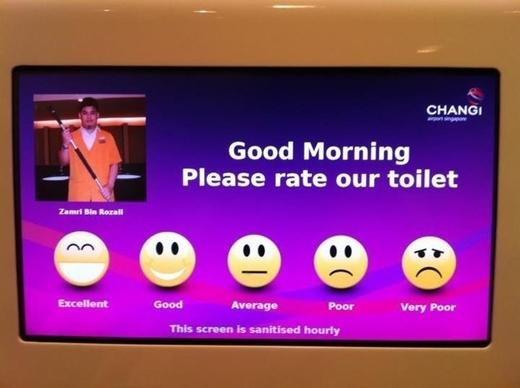 Dịch vụ vệ sinh trong toilet ở sân bay Changi cũng được trưng cầu ý kiến.