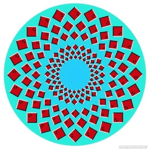 Những hình tam giác này cũng đang nối đuôi nhau nhờ vào ảo ảnh thị giác.