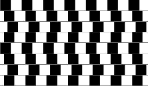 Thoạt nhìn thì những đường kẻ ngang này đang cong cong vẹo vẹo, nhưng nếu bạn thử dùng thước kẻ kiểm tra xem, bất ngờ lắm đó nha!