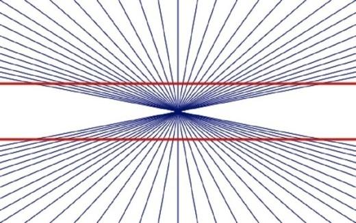 Hai đường kẻ màu đỏ này cũng bị vu oan là đường cong, thật ra chúng đều là đường thẳng đấy!