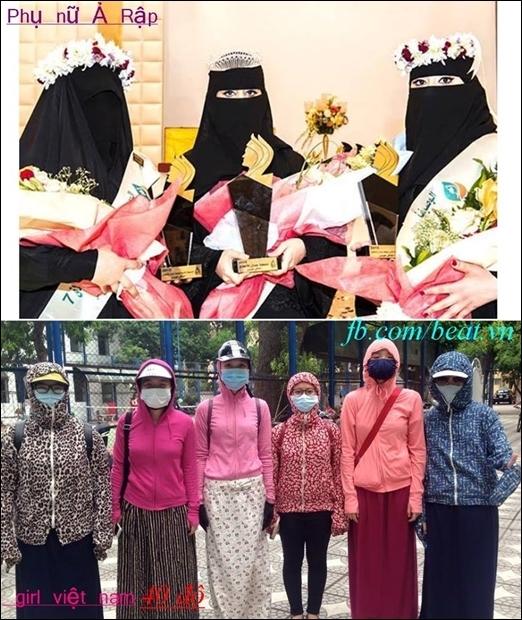 Với cái nắng nóng như hiện nay, những chị em phụ nữ Việt Nam khi ra đường được so sánh với những cô nàng Ả Rập. Hai bức hình so sánh phụ nữ Ả Rập và Việt Nam khiến cho nhiều người không khỏi bật cười.