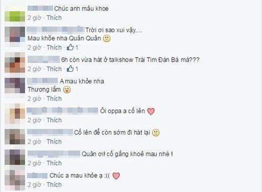 Các fans cùng nhau gửi lời chúc sức khỏe đến Nguyễn Trần Trung Quân, mong anh mau khỏe lại. - Tin sao Viet - Tin tuc sao Viet - Scandal sao Viet - Tin tuc cua Sao - Tin cua Sao