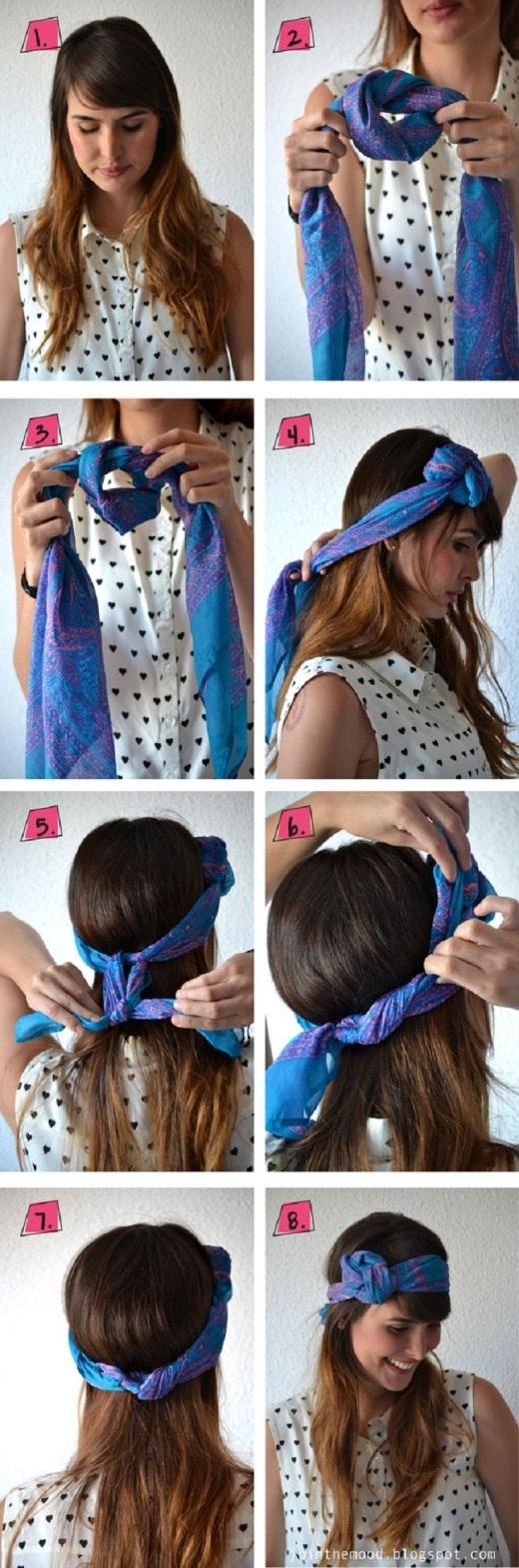 Chỉ với vài nút thắt đơn giản bạn đã có thể tạo thành một kiểu quấn khăn rất dễ thương.
