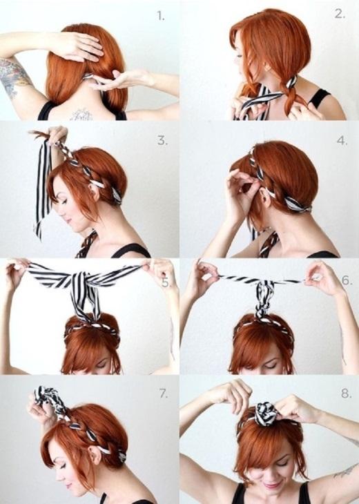 Một kiểu tết tóc với khăn mang lại vẻ dịu dàng nữ tính nhưng vẫn hiện đại và trẻ trung cho các bạn nữ.