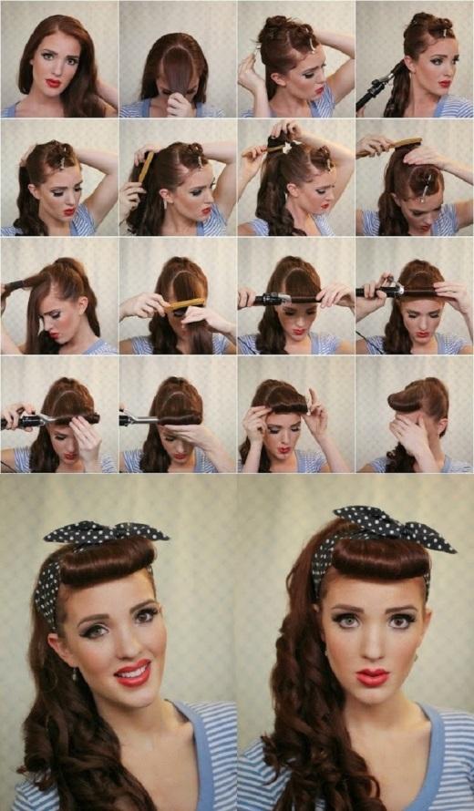 Biến hóa mái tóc theo phong cách retro với lọn mái ngố và khăn chấm bi.