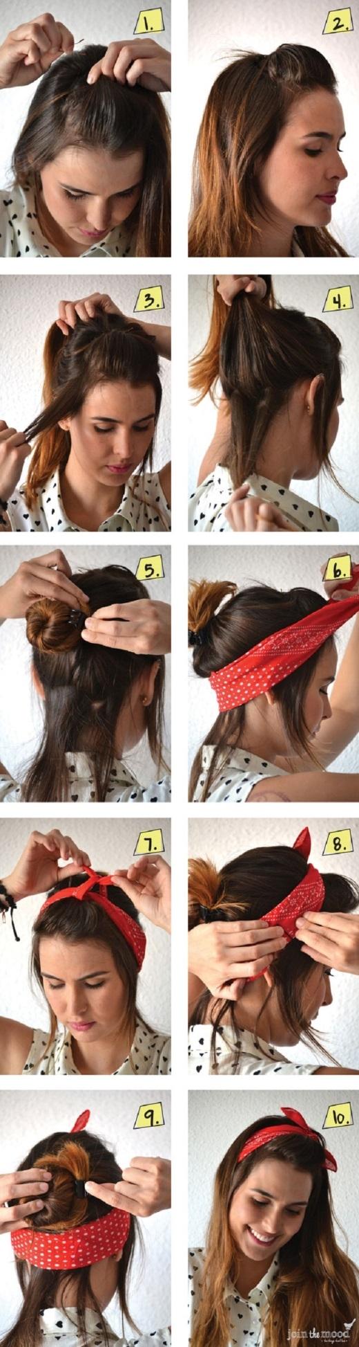 Một kiểu thắt khăn cực kì đơn giản với sự kết hợp giữa búi tóc + xõa tóc + khăn turban.