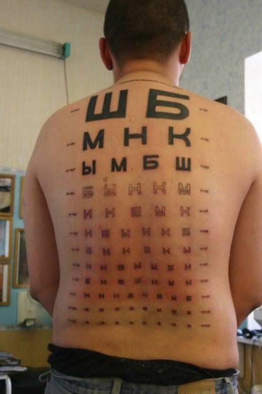 Bạn có thể kiểm tra thị lực thông qua lưng của anh chàng này.
