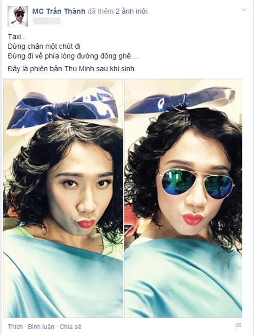 Không chỉ nhái lại gu ăn mặc và trang điểm, Trấn Thành còn chụp ảnh với phong cách chu môi thường thấy của Thu Minh. - Tin sao Viet - Tin tuc sao Viet - Scandal sao Viet - Tin tuc cua Sao - Tin cua Sao