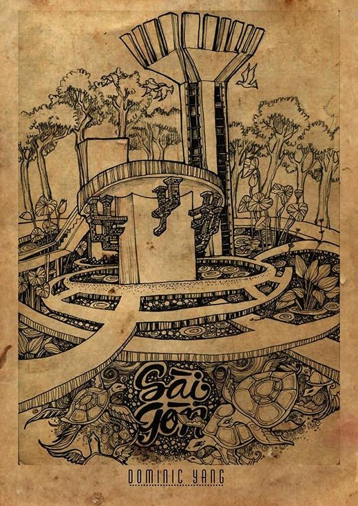 Chúng tôi, đều là khách của Saigon, chúng tôi bàn về Saigon. Saigon lạ lắm có cái bát nước mang tên Hồ con Rùa giữa lòng thành phố, lúc nước Hồ như nước rau muống luộc, lúc thì vàng khè như trà hoa cúc, lúc đen thui như chén chè đậu đen.