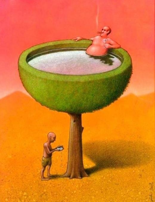 Ở nơi này người này đang phung phí nước nhưng ở nơi khác người ta đang thiếu nước để uống.