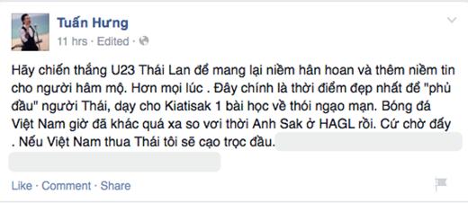 Tuấn Hưng thể hiện niềm tin mãnh liệt cho đội tuyển Việt Nam khi đặt cược mái tóc của mình. - Tin sao Viet - Tin tuc sao Viet - Scandal sao Viet - Tin tuc cua Sao - Tin cua Sao