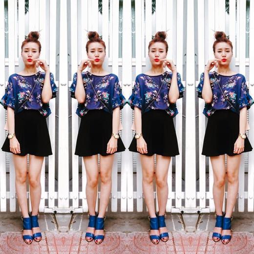 Cô nàng Ninh Dương Lan Ngọc đã thay đổi phong cách thường ngày của mình sang một cấp độ teen hơn. Cô nàng tự nhận mình là nghé con khi diện style này đến đoàn phim.