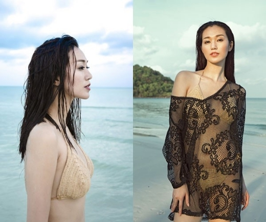 """Khánh My điệu đà trước biển trong bộ bikini màu nude nhã nhặn. Người đẹp còn khéo léo tăng thêm phần hấp dẫn """"nửa kín nửa hở"""" với chiếc áo choàng cũng được móc từ chất liệu len."""
