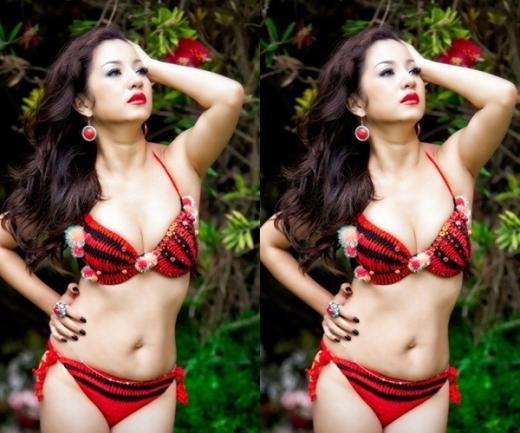 Không sở hữu thân hình bốc lửa nhưng nhờ bộ bikini len đỏ rực rỡ, danh hài Thúy Ngavẫn khiến người ta phải ngước nhìn.
