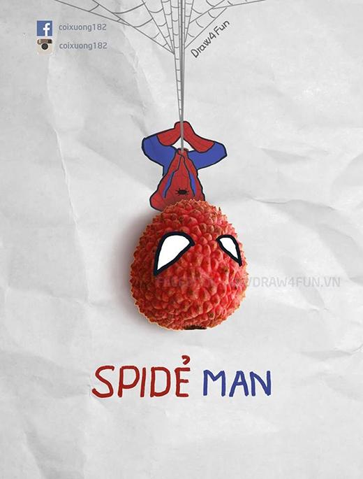 Phiên bản Spider Man cực kì đáng yêu với quả vải luôn nhé.