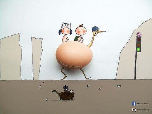 Giao thông trên sa mạc với trứng gà và hòn sỏi.
