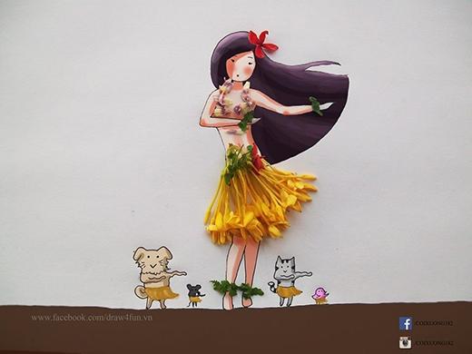 Chỉ với những bông hoa đơn giản, tác giả đã sáng tạo nên một bức tranh vũ điệu Hawai vui nhộn.