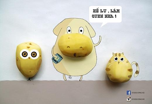 Cú khoai tây, Bò khoai tây và Mèo khoai tây xin chào các bạn!