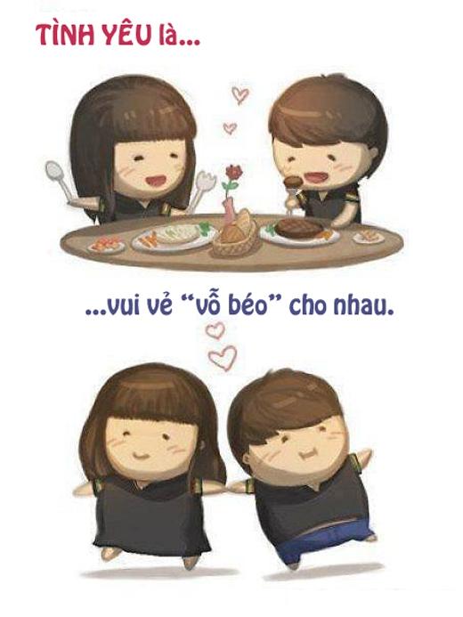 """""""Tình yêu"""" là khi chúng ta cùng nhau béo lên mỗi ngày, không phải lo nghĩ kiêng khem để giữ dáng."""