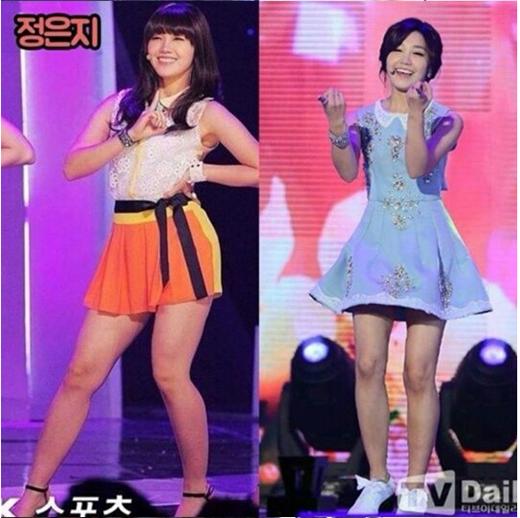 """Từ khi ra mắt, vóc dáng của Eunji đã không được đánh giá cao, nhất là đôi chân quá khổ của mình. Tuy nhiên, từ tháng 9/2014, nữ thần tượng đã quyết tâm giảm cân và khiến các fan bất ngờ với màn """"lột xác"""" đầy ngoạn mục. Và một trong những lý do thôi thúc Eunji giảm cân chính là chỉ để mặc vừa trang phục biểu diễn của A Pink."""