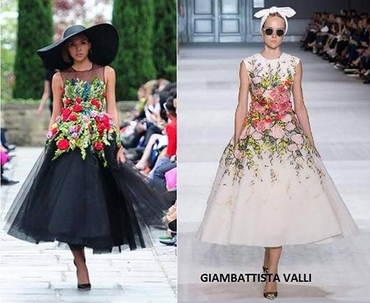 2 bộ váy của Minh Triệu trình diễn từ cấu trúc, phom dáng không khác nhiều với thiết kế của Giambaitista Valli.
